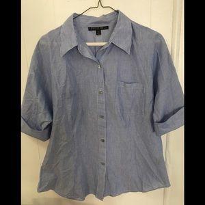Lafayette 148 Blue/White Striped Cotton Sh…